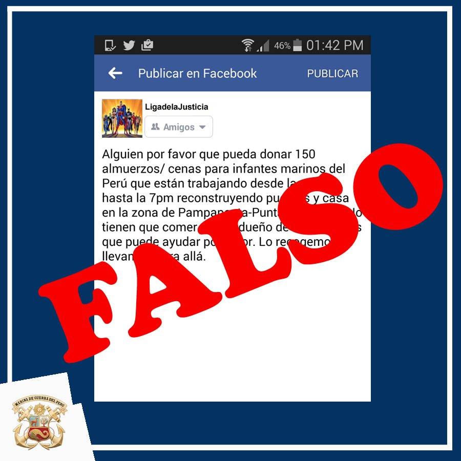 La Marina de Guerra del Perú comunica sobre este falso pedido de ayuda que circula en redes
